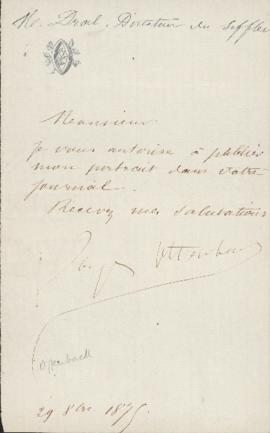 Letter from Jacques Offenbach