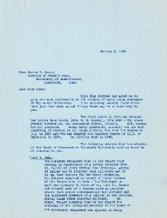 Correspondence between Helen Balcom, Dalhousie Alumni Secretary, and Bertha G. Oxner, Director of...