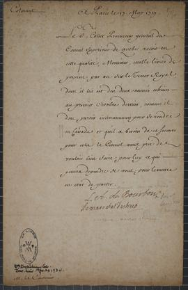 Letter from Louise Auguste de Bourbon, Duke of Maine, to M. LeCouturier asking that everything be...