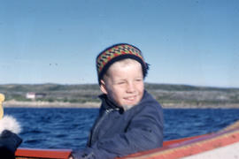 Photograph of Eric in a canoe in Fort Chimo, Quebec
