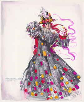 Costume design for woman at costume ball