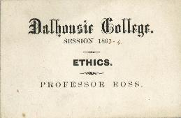 Ticket to an ethics class at Dalhousie College