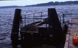 "Photograph of a docked ""slick licker"" at Alexandria Bay, New York"