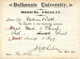 Student tickets from the Dalhousie University medical faculty