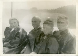 Photograph of Edith and Thomas Head Raddall with Johnnie and Hugh Kane aboard the tour boat Maid ...