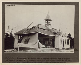 Photograph of the damage to the Tuft's Cove Schoolhouse after the Halifax explosion