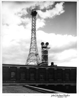 Photograph of microwave towers on top of the long distance centre on North Street in Halifax, Nova Scotia