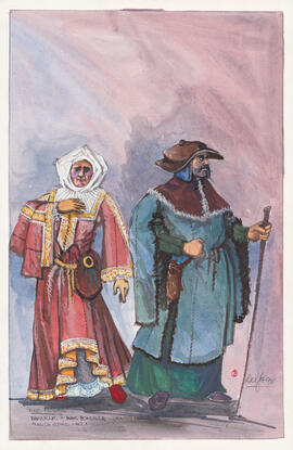 Costume design for Bonville and Madame Bonville