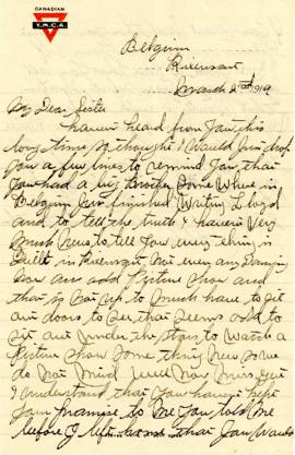 Letter from Weldon Morash to his sister Gertrude dated 2 March 1919