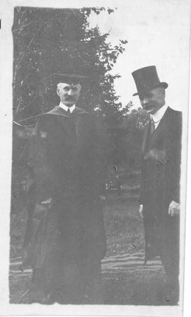 Photograph of A.S. MacKenzie and Mr. Campbell at the laying of the cornerstone for the science bu...