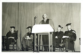 Photograph of Thomas Head Raddall giving a speech after receiving an Honorary Doctor of Laws degr...