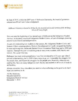 Letter, article, and stickers related to Dalhousie University's official land acknowledgement