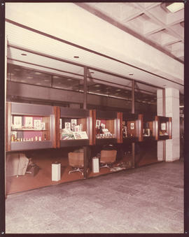 Photograph of display cases in the Killam Memorial Library
