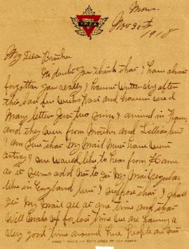 Letter from Weldon Morash to his brother Lloyd dated 20 November 1918