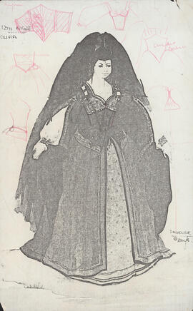 Photocopy of costume design for Olivia