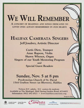 We will remember : a concert of readings and songs : [poster]
