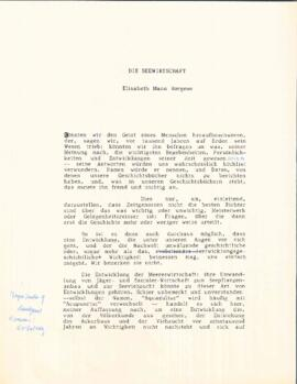 Die Seewirtschaft = The maritime economy by Elisabeth Mann Borgese : [draft with handwritten corr...