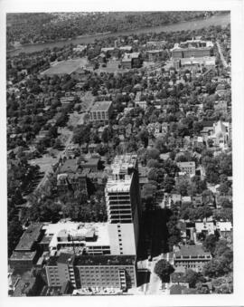 Photograph and a photographic negative of an aeriel view of the Dalhousie University complex