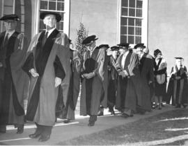 Photograph of a procession at the opening ceremony of the Sir James Dunn Building