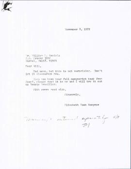 Correspondence with William B. Daniels