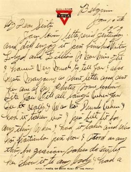 Letter from Weldon Morash to his sister Gertrude dated 19 January 1919