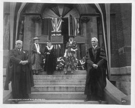 Photograph of the unveiling of plaques for Dalhousie's three first presidents
