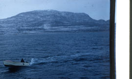 Photograph of a motorboat on the water near Cape Dorset, Northwest Territories