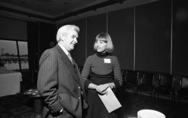 Photograph of Jeannie Hughes with an unidentified person