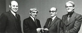 Photograph of Dr. Edwin F. Ross Accepting Award 1972