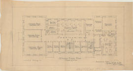 Technical drawing of the second floor plan of a Dalhousie arts building