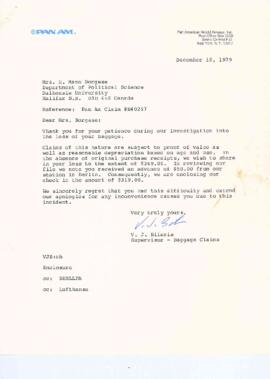Correspondence between Elisabeth Mann Borgese and Pan Am