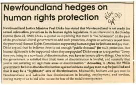 Newspaper clippings and published documents re. gay rights in Newfoundland