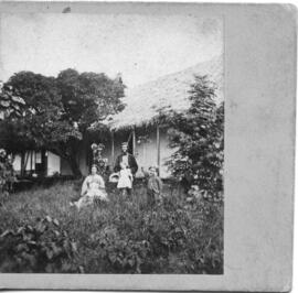 Photograph of Rev. J. Copeland and family at mission house in Futuna, New Hebrides
